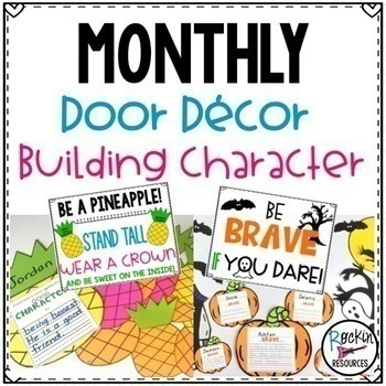 Monthly Door Decor or Bulletin Board for Character Education, resource from Rockin Resources, available on TpT