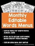 Monthly EDITABLE Words Menus