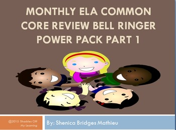 Monthly ELA Warm Ups and Bell Ringers for Visual Learners Part 1
