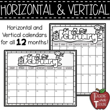 Monthly Editable Calendars