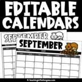 EDITABLE Monthly Calendar 2019-2020 Free Updates Every Year