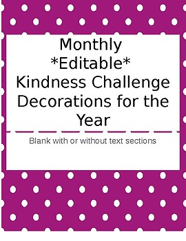 Monthly *Editable* Kindness Challenge Pictures
