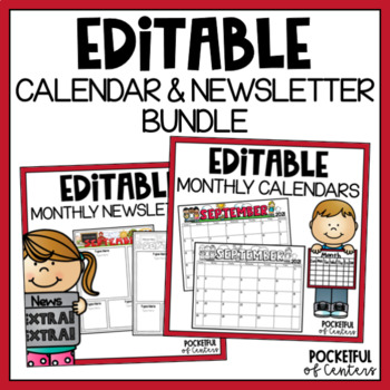 Monthly Editable Newsletters & Calendars 2019-2020 BUNDLE
