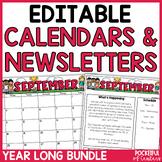 Monthly Editable Newsletters & Calendars 2021-2022 BUNDLE