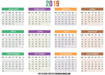 image about Printable Calendars for identify Regular monthly Editable Printable Calendars 2019