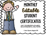 Monthly Editable Student Certificates