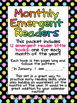 Monthly Emergent Readers Preschool Kindergarten Months of the Year