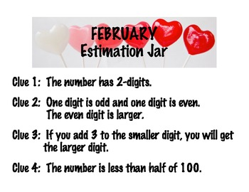Monthly Estimation Jars with Math Clues