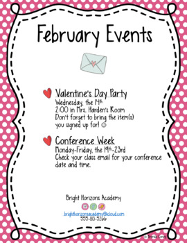 Monthly Events and Reminders * EDITABLE *