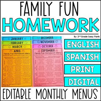 EDITABLE Monthly Family Fun Homework Menus {Growing Bundle}