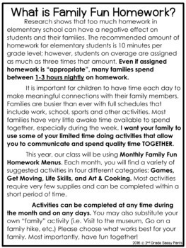 EDITABLE Monthly Family Fun Homework Menus Bundle