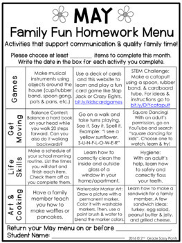 Editable Monthly Family Fun Homework Menus Bundle By 2nd