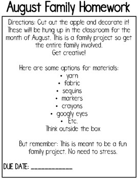 Monthly Family Homework