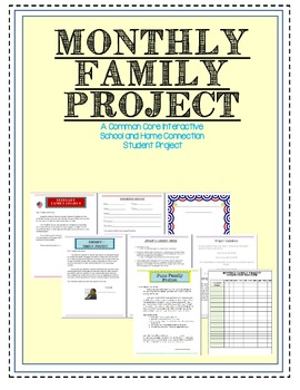 Monthly Family Projects- CCSS School Home Connection