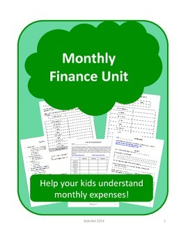 Monthly Finance Unit - Project Based Task about Money! 3 W