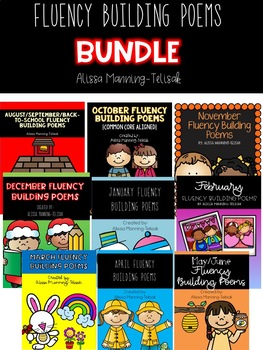 Monthly Fluency Building Poems BUNDLE for Poetry Notebooks