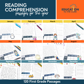 Monthly Fluency Passages 1st Grade, Reading Comprehension Passages and Questions