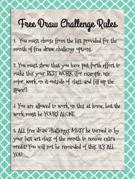Monthly Free Draw Challenge
