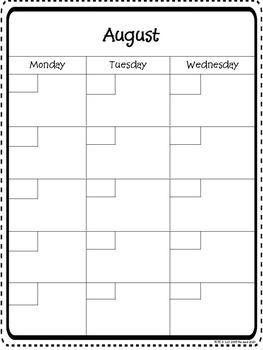 Monthly Glance Calendar