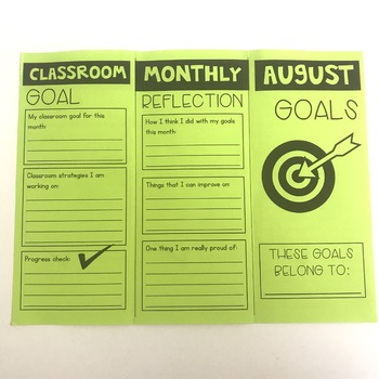 Monthly Goal Setting Brochures