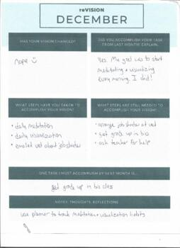 Monthly Goal Setting Worksheet Pack (11 check in forms, vision board companion!)