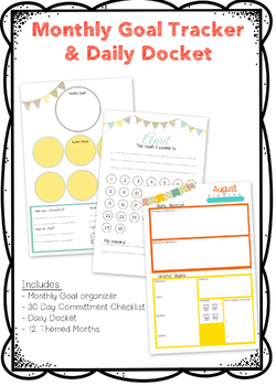 Monthly Goal Tracker & Daily Docket