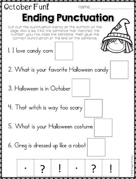Daily Grammar for October (2nd & 3rd Grade grammar worksheets)