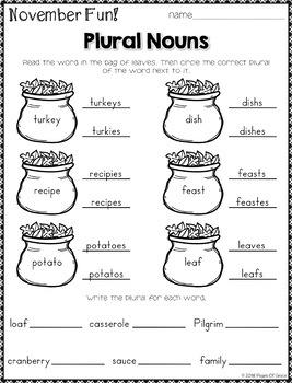 Monthly Grammar for November (2nd & 3rd Grade)