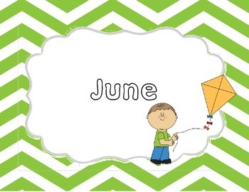 Monthly Green Chevron Title Pages with Clip Art
