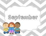 Monthly Grey Chevron Title Pages with Clip Art