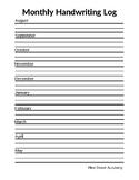 Monthly Handwriting Log