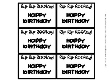 Monthly Happy Birthday Gift Tags