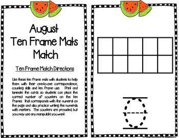 Monthly & Holiday Ten Frame Mats
