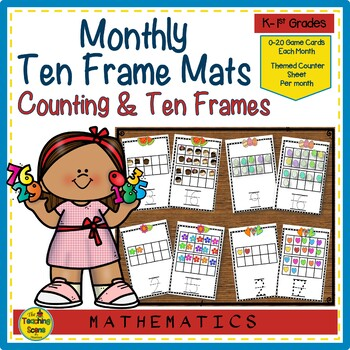 Year Long Monthly Ten Frame Counting & Numeral Writing Mats 0-20