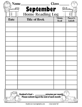 Reading Logs for recording Monthly Home Reading