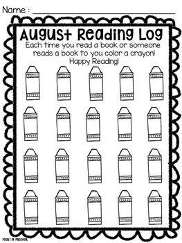 Reading Log for Preschool PreK