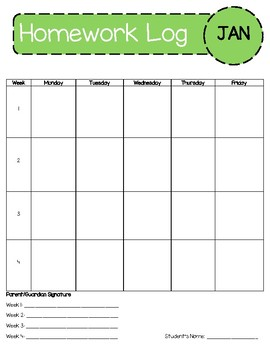Monthly Homework Agenda with Parent Signature