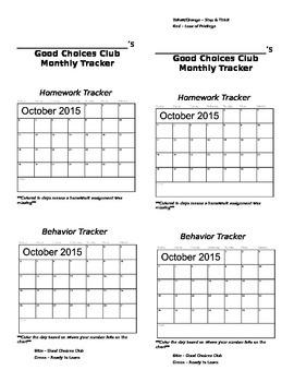 Monthly Homework & Behavior Tracker