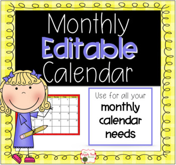 editable monthly calendars
