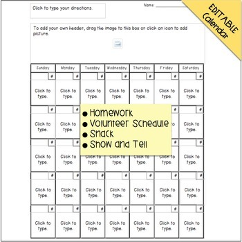 Monthly Calendar {Homework, Snack, Show And Tell, More}