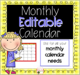 Editable Monthly Calendar {Homework, Snack, Show and Tell, More}