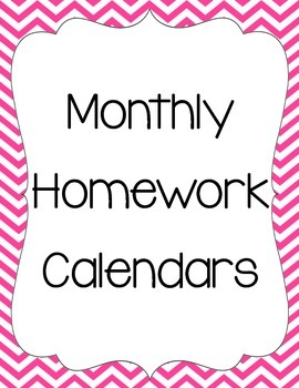 Monthly Homework Calendar Bundle
