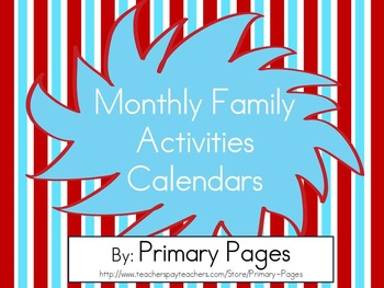 2016-2017 Monthly Collaborative Homework Calendar- Red and Blue Theme
