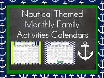 2016-2017 Monthly Collaborative Homework Calendars- Nautical Theme