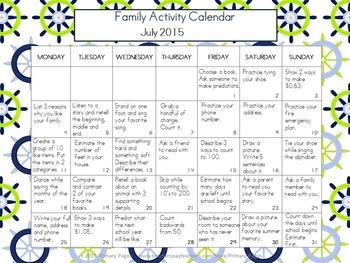 2016-2017 Monthly Collaborative Homework Calendars- Nautical Theme