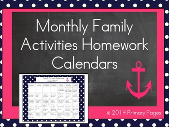2016-2017 Monthly Collaborative Homework Calendars- Navy and Pink