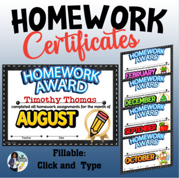 Monthly  Homework Certificates - Fillable