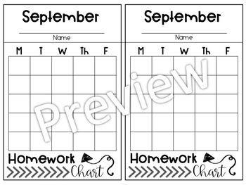 Monthly Homework Charts