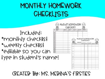 Monthly Homework Checklist- Editable