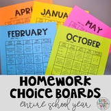 Monthly Homework Choice Boards - FULL YEAR